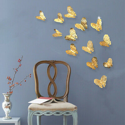 12pcs 3D Metal Hollow Butterfly Pattern Wall Sticker Bedroom Decoration