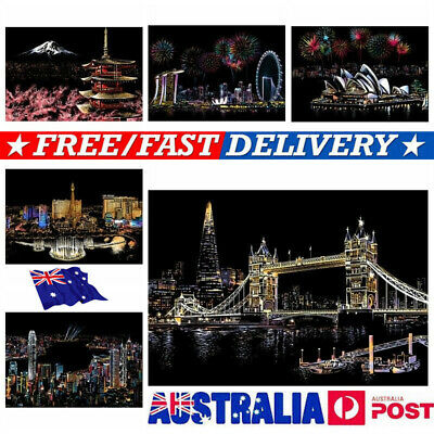 Magic Scratch Art Painting Paper With Wooden Drawing Stick Kid Adult DIY KIT VW