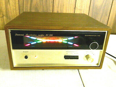 Vtg SANSUI RA-500 STEREO REVERB WITH WOOD Case Japan Silverface Powers On