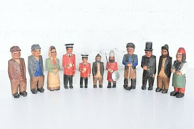 Lot 11 Vintage Hand Carved Wood Figures Swedish Swiss Old Man Lady Signed