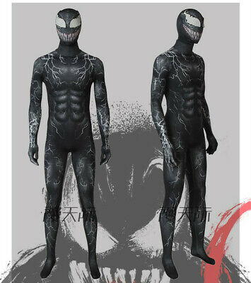 Venom Eddie Brock Cosplay Costume Spiderman Zentai Jumpsuit Suit w/ Helmet Mask