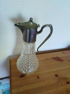 Vintage Cut Crystal Claret Jug Pitcher With Silver Plated Lid
