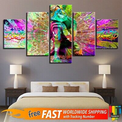5 Pieces Abstract Wall Art Canvas Home Decor Poster Buddha Psychedelic Mandala