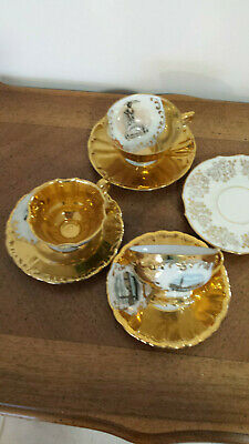 Lot 3 tasses à café porcelaine bavière + or