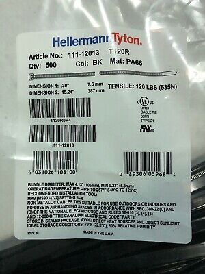 "QTY-200  Hellermann Tyton Plenum UL Rated Cable Ties 12/""  T5012C2UL  NEW"