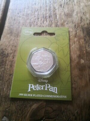Peter Pan / Disney 50P Shaped .999 Silver Plated Collectors Coin Koin Club