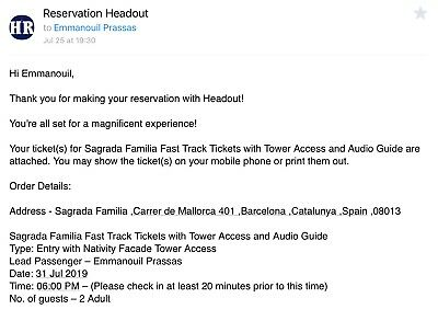2 x Fast track tickets to Sagrada Familia with Tower Access and Audio Guide