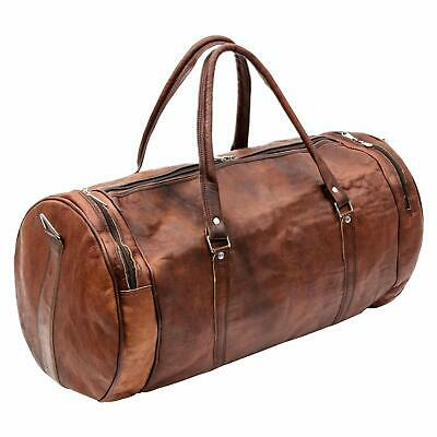 Leather Travel Luggage Bag, Mens Duffle Retro Carry on Handbag (Brown)