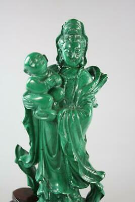 Vintage Chinese Handcarved Green Malachite Figural Guan Yin On Stand