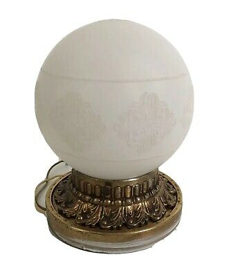 Vintage White Globe Gold Metal Ceiling Light Fixture Hollywood Regency Ornate