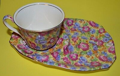 Royal Winton Royalty Chintz  England Tea Biscuit Tennis Set Tea Cup - Saucer #1