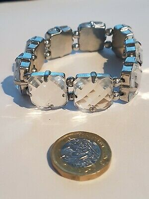 Silver Plated Stretch Crystal Bead Square Bracelet