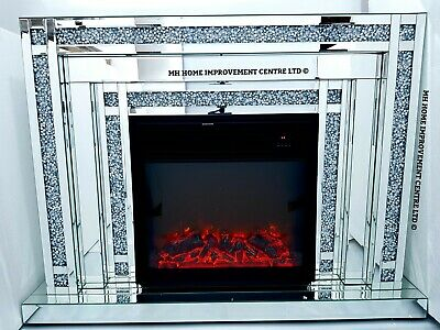 Mirrored LED Fireplace Sparkly Silver Diamond Crush Crystal Dimmable with Remote