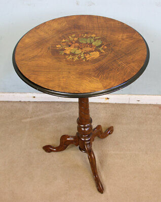Antique Walnut Tripod Marquetry Inlaid Table Victorian Occasional Wine Lamp