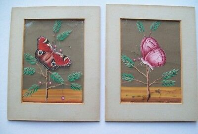 RARE PAIR OF ORIGINAL 19th CENTURY INDIAN MICA PAINTINGS - BUTTERFLIES ON PLANTS