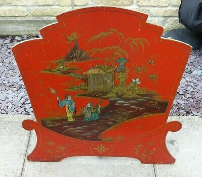 Antique Early 20th Century Chinoisiere Red Lacquered Fire Screen – Figures