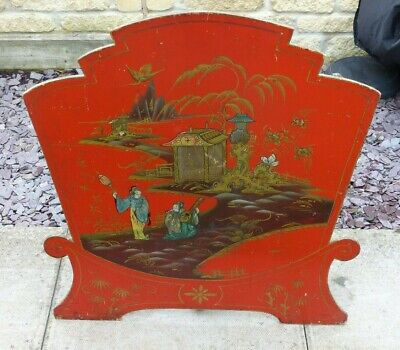 Antique Early 20th Century Large Oriental Red Lacquered Fire Screen – Figures