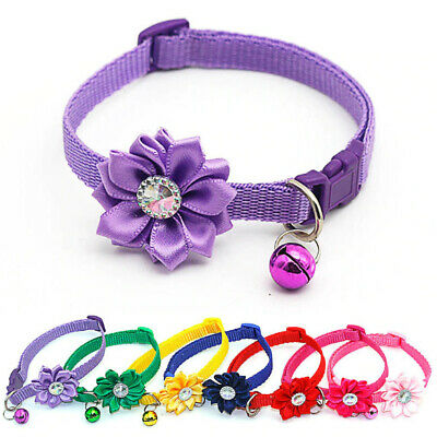 1Pc Pet Collar Dog Cat Flower Neck Supply Safe Buckle Bells Pets Accessories