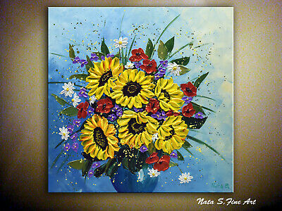 Sunflower Bouquet Painting Palette Knife Art Impasto Floral Landscape by Nata