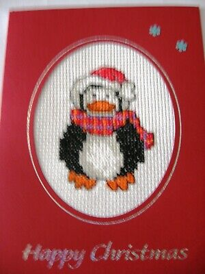 Christmas Card Completed Cross Stitch Penguin 8x6""