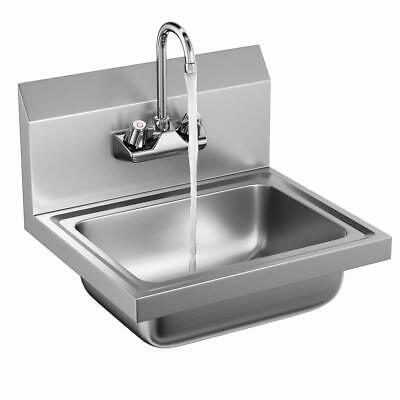 Stainless Steel Utility Small Hand Wash Sink Bowl W Faucet Wall Mount Heavy Duty