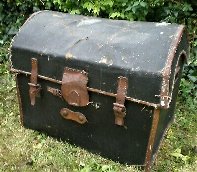 Vintage Antique Small Domed Portmanteau Travelling Trunk A/F