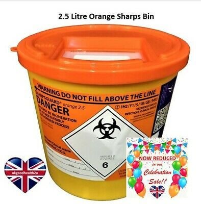 Daniels SHARPSGUARD® Orange 2.5 litre Sharps Bin Container Safe Needle Disposal