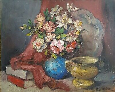 Vintage Still Life Original Painting, Floral Oil Painting, Alexis Hinsberger
