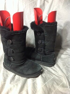 911b811a928 UGG AUSTRALIA BAILEY Triple 3 Button Black Leather/Sherpa Boots Size ...