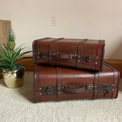 set of 2 vintage wooden storage boxes bedroom trunks suitcase ottomans chest box