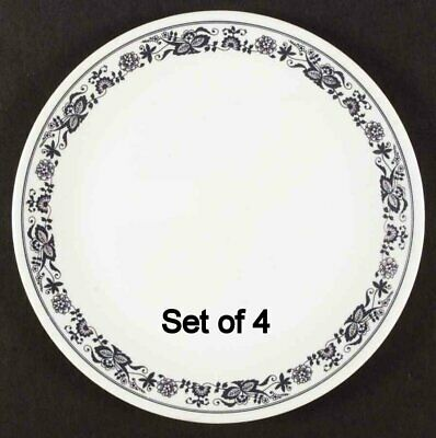 Set of 4 Corning Ware Corelle Old Town Blue 10.25'' Dinner Plates