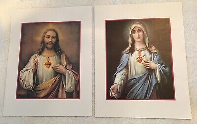 Sacred Heart of Jesus & Immaculate Heart of Mary 14 x 11 Prints JMJ Collection
