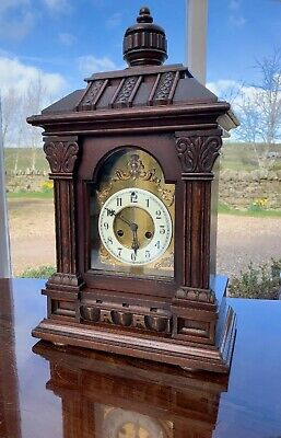 Large Impressive Victorian Mantle Clock by Waterbury Helsby Chiming 8 Day.