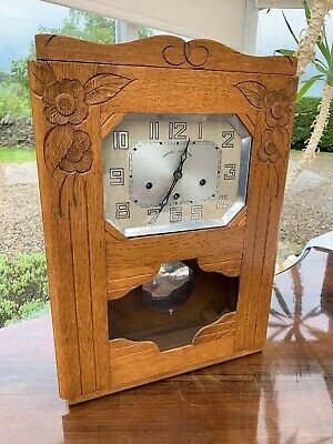 Carillon French Carved Oak Wooden Case Chiming Wall Clock By B.C. Paris France.