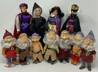 Vintage 80s Bikin Snow White And The Seven Dwarfs Doll Set/ Doll Stands Included