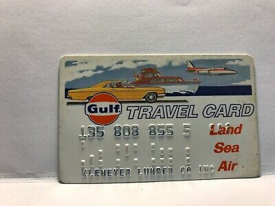Vintage Gulf Oil Company Travel Card Land Sea Air Collectors Credit Card       7