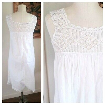 Antique 1900s Edwardian white cotton bloomers slip *sundress hand tatted lace