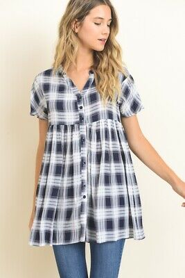 New Women's Black White Plaid Baby Doll Top Size S by Hopely Super CUTE