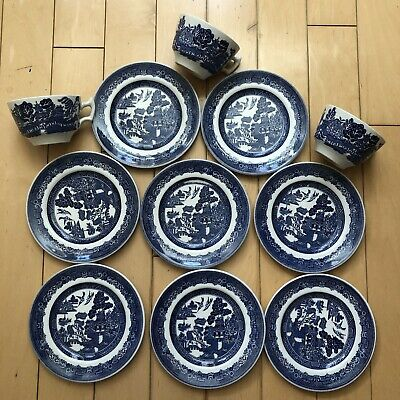 Johnson Brothers England & Blue Willow Pattern China MIXED LOT12 pc cups plates