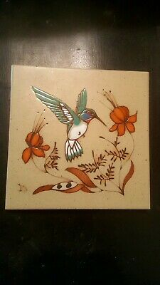 Jack And Cleo Teissedre Hand Painted Tile Trivet or wall hanging.