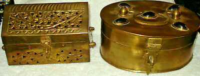 2 Vintage Brass Reticulated Box w Lid Potpourri Herbs Cricket Box India Jeweled