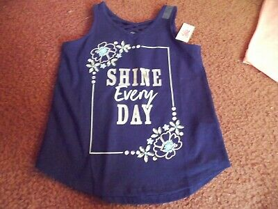justice-girls size 6/7 navy blue Criss Cross V-Neck Tank--shine every day nwt