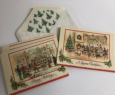 VINTAGE Christmas Cards W/ printed Envelopes - EPHEMERA - SET OF 12 New / Unused