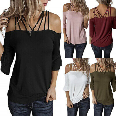 Sexy Slim Off Shoulder Tee T-shirt Women Large Size Backless Casual Tops Blouse