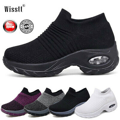 Women Air Cushion Running Sneakers Breathable Mesh Walking Slip-On Shoes Trainer