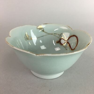 Japanese Celadon Small Bowl Vtg Porcelain Green Kobachi Gourd Chess Floral PT677