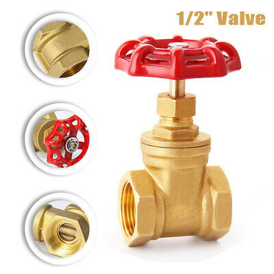 1/2'' Vintage Steampunk Stop Valve Light Switch Iron For Water Pipe W/Red Handle