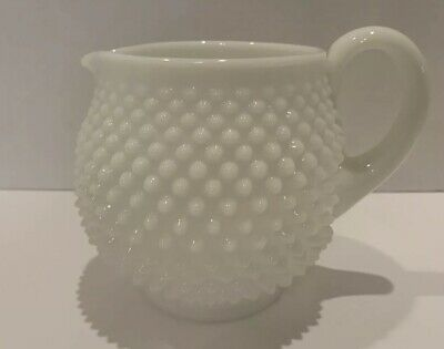 Vintage Antique Fenton Milk Glass Hobnail Juice Pitcher