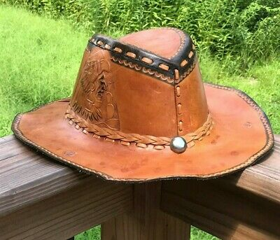 5d063e88 VTG TOOLED STIFF leather cowboy hat - Aztec / Mexican / Mayan ?? marked  size 7