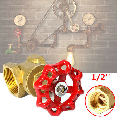 1/2'' Vintage Steampunk Copper Valve Light Switch For Water Pipe Lamp Red Handle